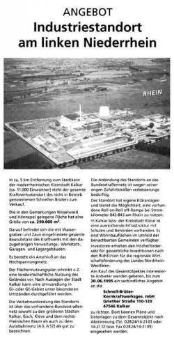 Advertentie verkoop Kalkar-terrein