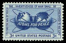 Postzegel uitgegeven ter ere van de 'Atoms For Peace' speech